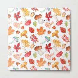 Watercolor Autumn Pattern Metal Print