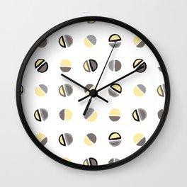 Yellow, Grey and Dark Taupe Pattern 2 Wall Clock