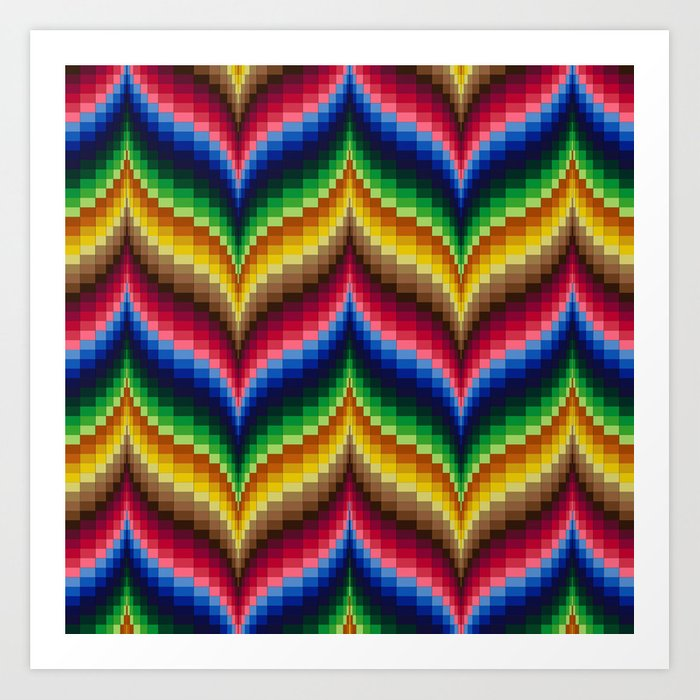 Bargello Quilt Pattern Impression 1 Art Print by rvjdesigns