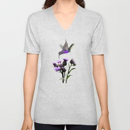 Violet Sabrewing Hummingbird and Thistle Unisex V-Neck