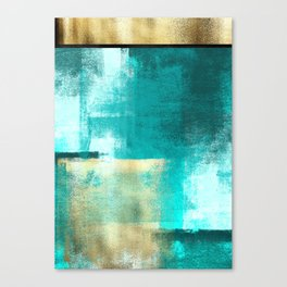 Minimal Abstract Deep Blue Seaside with Gold Canvas Print