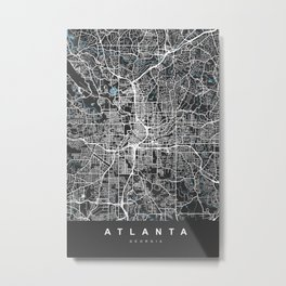 ATLANTA Map Georgia | Black & Blue | More Colors, Review My Collections Metal Print