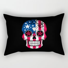 Sugar Skull with Roses and Flag of The United States Rectangular Pillow
