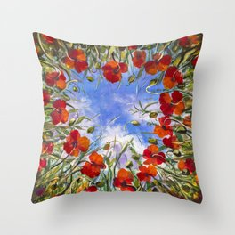 Red flowers poppies poppy flower landscape sping floral field in grass in shape of heart backgroud Throw Pillow