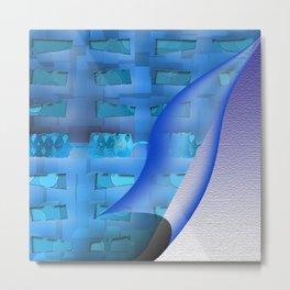 Blue Twisty Metal Print