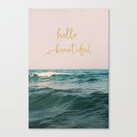 Hello Beautiful (Pink Waves) Canvas Print
