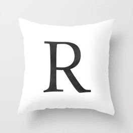 Letter R Initial Monogram Black and White Throw Pillow