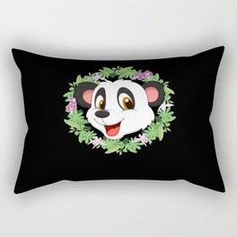 Children Panda Flower Motif Little Flower Outfit Rectangular Pillow
