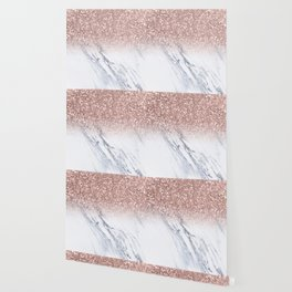 She Sparkles Rose Gold Marble Luxe Wallpaper