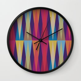 Party Argyle on Purple Wall Clock