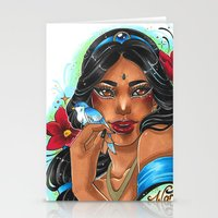 jasmine Stationery Cards featuring Jasmine by Little Lost Forest