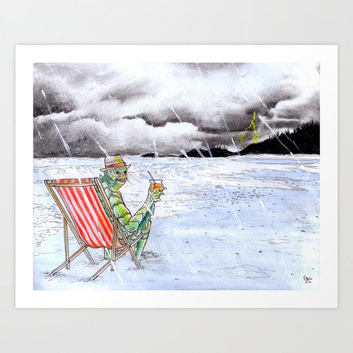Creature Beach Art Print