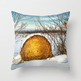 Hay bale forgotten in the snow Throw Pillow