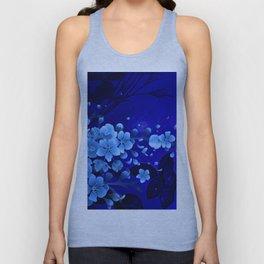 Cherry blossom, blue colors Unisex Tank Top