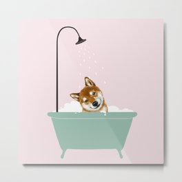 Shiba Inu Enjoying Bubble Bath Metal Print