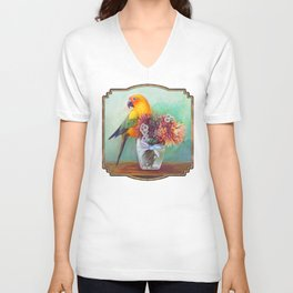 Sun conure and flowers Unisex V-Neck
