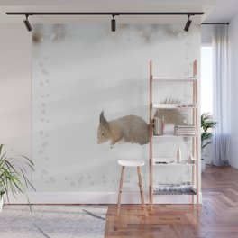 Little squirrel sitting in the snow #decor #society6 #buyart Wall Mural