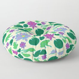 Jumping Frogs of Lily Pad Valley Floor Pillow