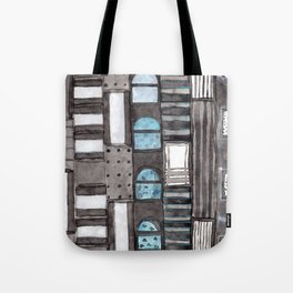 Gray Facade with Lighted Windows Tote Bag