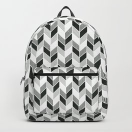 Chevron Pattern - Grayscale on White Backpack