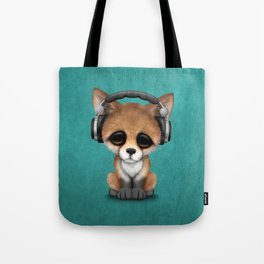 Cute Red Fox Cub Dj Wearing Headphones on Blue Tote Bag