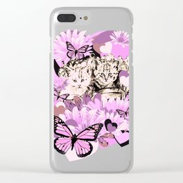 Frieda's Baby Cats in Pink Clear iPhone Case