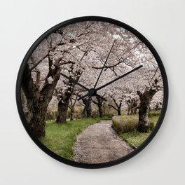 Row of cherry blossom trees Wall Clock