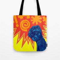 superheroes Tote Bags featuring Superheroes SF by Nick Volkert