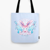 sylveon Tote Bags featuring Dragon Slayer: Sylveon by oops