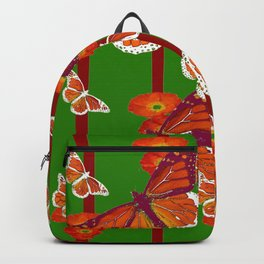 GREEN  DECORATED MONARCHS & POPPY FLOWERS ART Backpack