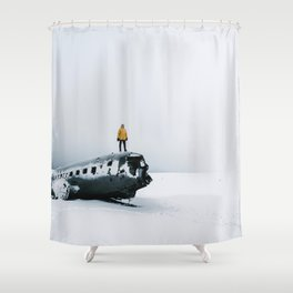 Plane wreck in Iceland with person - Landscape Photography Shower Curtain
