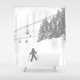 Little Skier - Grey Shower Curtain