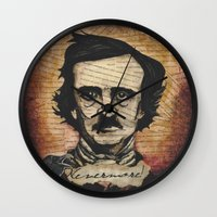 poe Wall Clocks featuring Poe by Colunga-Art