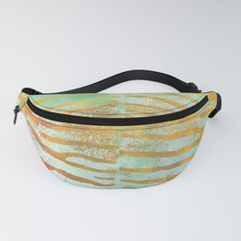Zebra Stripes | Celadon & Gold | Watercolor Animal Print Art Fanny Pack