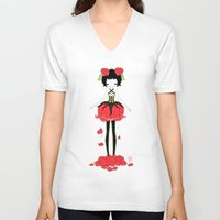 rose V-neck T-shirts featuring Rose by Freeminds