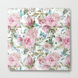Country chic blush pink teal lavender watercolor floral Metal Print