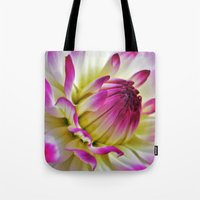 dahlia Tote Bags featuring Dahlia by Astrid Ewing