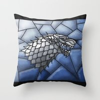 house stark Throw Pillows featuring House Stark Stained Glass by itsamoose