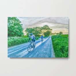 Cycling in The Countryside Metal Print