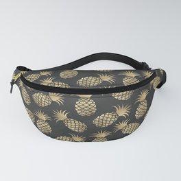 Modern chalk black elegant faux gold pineapple pattern Fanny Pack