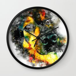 dog 2 splatter watercolor Wall Clock