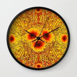 ART DECO GOLDEN SUNFLOWERS ABSTRACT Wall Clock