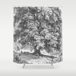 Linden Tree Print from 1800's Encyclopedia Shower Curtain