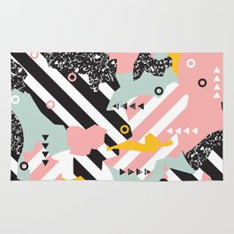 Spliced Geometric Memphis Pattern Geo Stripes Rug