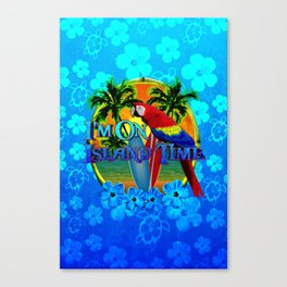 Island Time Surfing Blue Tropical Flowers Canvas Print