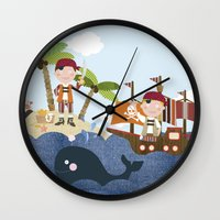 pirates Wall Clocks featuring pirates by elisapesteguia