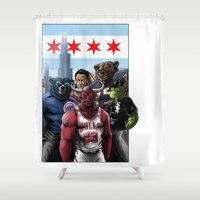 chicago bulls Shower Curtains featuring Chicago Sports by Carrillo Art Studio