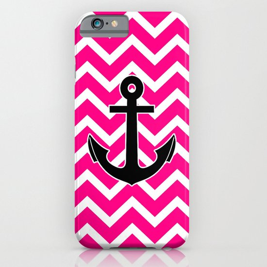 Magenta Zigzag Pattern Chevron Anchor iPhone & iPod Case