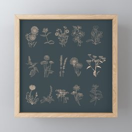 Blush And Slate Blue Wild Craft Herbalist Botanical Sketchbook Boho Vintage Flowers For Cottagecore Decor Framed Mini Art Print