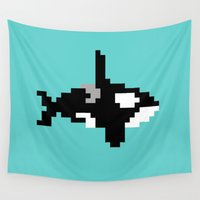 8 bit Wall Tapestries featuring 8-bit Orca by Ria Pi